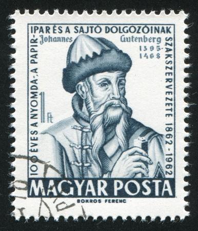 gutenberg: HUNGARY - CIRCA 1962: stamp printed by Hungary, shows Johann Gutenberg, circa 1962 Editorial