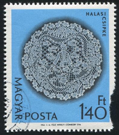 HUNGARY - CIRCA 1964: stamp printed by Hungary, shows Halas lace patterns, circa 1964 Stock Photo