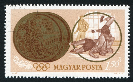 greco roman: HUNGARY - CIRCA 1963: stamp printed by Hungary, shows wrestling, circa 1963