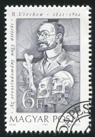 pathologist: HUNGARY - CIRCA 1989: stamp printed by Hungary, shows Rudolf Virchow, German pathologist, circa 1989 Editorial
