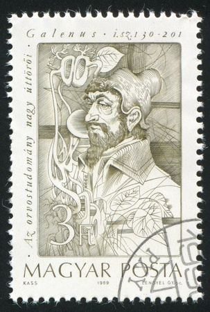 HUNGARY - CIRCA 1989: stamp printed by Hungary, shows Galen, Greek physician, circa 1989 Stock Photo - 11452434