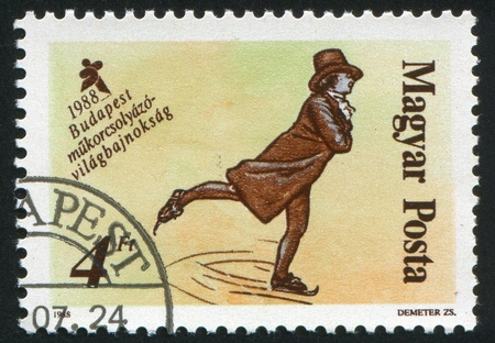 winter dance: HUNGARY - CIRCA 1988: stamp printed by Hungary, shows Figure skating, circa 1988