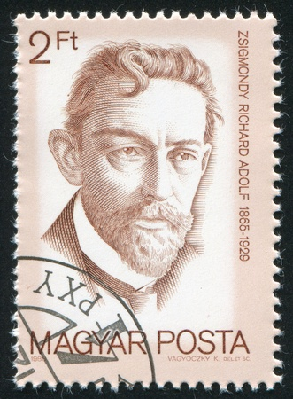 nobel: HUNGARY - CIRCA 1988: stamp printed by Hungary, shows Richard Adolf Zsigmondy, Nobel Prize Winners, circa 1988