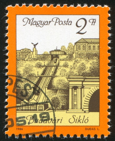 HUNGARY - CIRCA 1986: stamp printed by Hungary, shows Buda Castle Cable Railway Station Reopening, circa 1986 photo