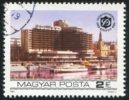 HUNGARY - CIRCA 1984: stamp printed by Hungary, shows Budapest Duna Intercontinental Hotels, circa 1984 photo