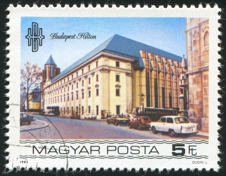 HUNGARY - CIRCA 1984: stamp printed by Hungary, shows Budapest Hilton Hotel, circa 1984 photo