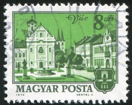 vac: HUNGARY - CIRCA 1974: stamp printed by Hungary, shows Church and city hall, Vac, circa 1974 Stock Photo