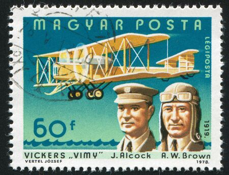 HUNGARY - CIRCA 1978: stamp printed by Hungary, shows aeroplane, J. Alcock and R. W. Brown, circa 1978