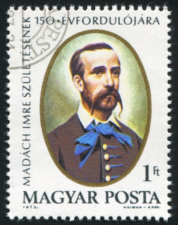 dramatist: HUNGARY - CIRCA 1973: stamp printed by Hungary, shows Imre Madach, Poet and Dramatist, circa 1973 Editorial