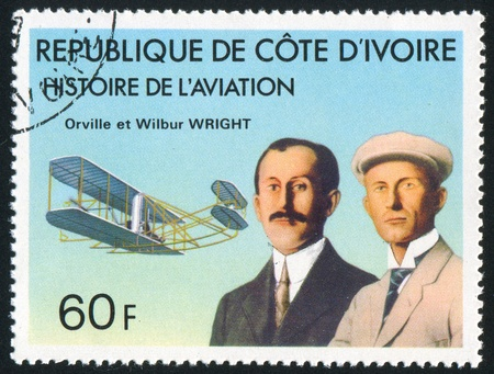IVORY COAST CIRCA 1977: stamp printed by Ivory Coast, shows Orville and Wilbur Wright, 'Wright Flyer', circa 1977 Stock Photo - 11457770