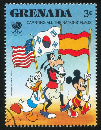GRENADA - CIRCA 1988: stamp printed by Grenada, shows Flag bearers, circa 1988