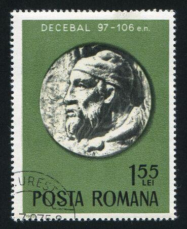 governor: ROMANIA - CIRCA 1975: stamp printed by Romania, shows governor Decibalus, bas-relief, circa 1975