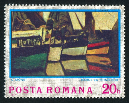 monet: ROMANIA - CIRCA 1974: stamp printed by Romania, shows picture Boats at Monfleur by Claude Monet, circa 1974