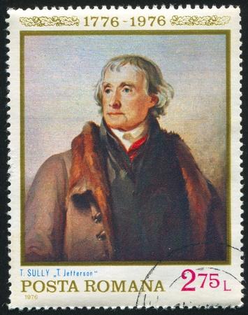 sully: ROMANIA - CIRCA 1976: stamp printed by Romania, shows picture T.Jefferson, by Thomas Sully, circa 1976