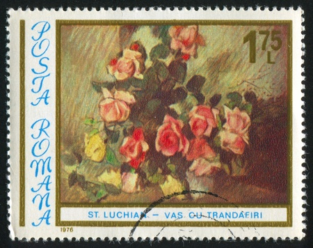 ROMANIA - CIRCA 1976: stamp printed by Romania, shows picture 'Roses' by Stefan Luchian, circa 1976 photo