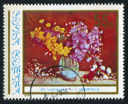 ROMANIA - CIRCA 1976: stamp printed by Romania, shows picture Vase with Flowers by Stefan Luchian, circa 1976 photo