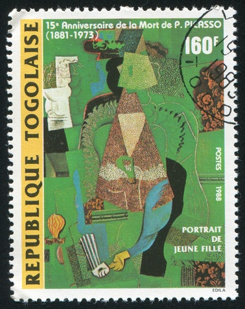 TOGO - CIRCA 1988: stamp printed by Togo, shows picture Portrait of a young girl, by Picasso, circa 1988