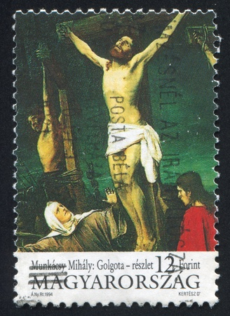 golgotha: HUNGARY - CIRCA 1994: stamp printed by Hungary, shows picture Golgotha, by Mihaly Munkacsy, circa 1994