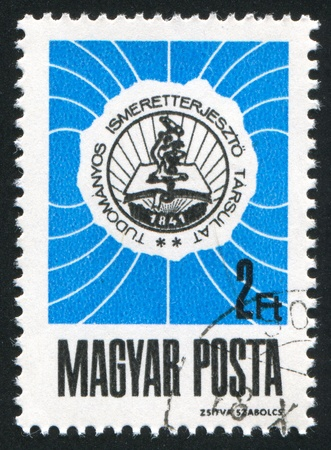 HUNGARY - CIRCA 1968: stamp printed by Hungary, shows Scientific Society Emblem, circa 1968 photo
