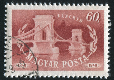 HUNGARY - CIRCA 1949: stamp printed by Hungary, shows Chain bridge, circa 1949 Stock Photo - 11754848