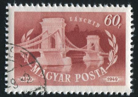 HUNGARY - CIRCA 1949: stamp printed by Hungary, shows Chain bridge, circa 1949 Stock Photo - 11754848