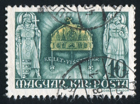HUNGARY - CIRCA 1940: stamp printed by Hungary, shows crown of St. Stephen, circa 1940 photo