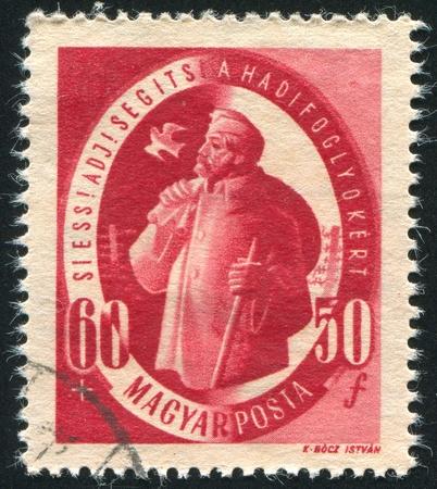 prisoner of war: HUNGARY - CIRCA 1947: stamp printed by Hungary, shows prisoner of war starting home, circa 1947