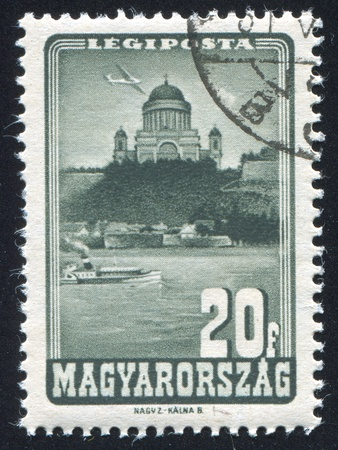 HUNGARY - CIRCA 1947: stamp printed by Hungary, shows Cathedral of Esztergom, circa 1947 Stock Photo - 11754977