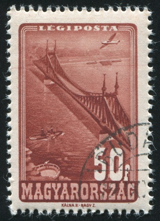 HUNGARY - CIRCA 1947: stamp printed by Hungary, shows Liberty Bridge, Budapest, circa 1947 Stock Photo - 11754870