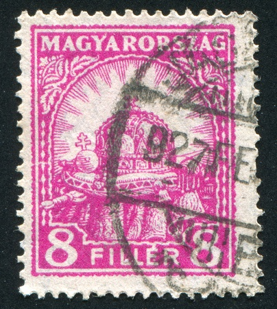 HUNGARY - CIRCA 1926: stamp printed by Hungary, shows Crown of St. Stephen, circa 1926 Stock Photo - 11754991
