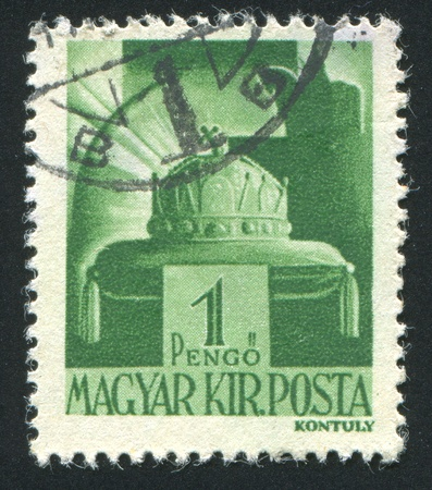 HUNGARY - CIRCA 1942: stamp printed by Hungary, shows Crown of St. Stephen, circa 1942 Stock Photo - 11754869