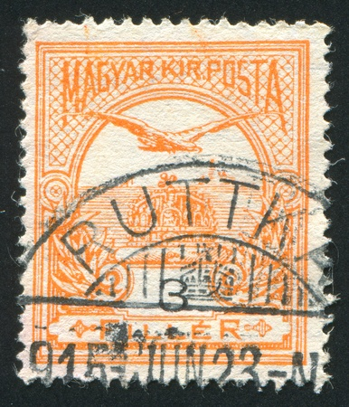 "HUNGARY - CIRCA 1904: stamp printed by Hungary, shows ""Turul"" and Crown of St. Stephen, circa 1904 photo"