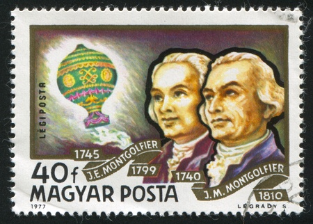 weightlessness: HUNGARY - CIRCA 1977: stamp printed by Hungary, shows Montgolfier Brothers and Balloon, circa 1977