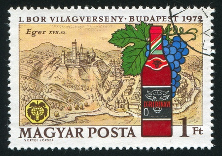 HUNGARY - CIRCA 1972: stamp printed by Hungary, shows Eger, 17th Century View, and Bottle of  Bulls Blood, circa 1972 photo