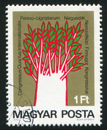 cognate: HUNGARY - CIRCA 1975: stamp printed by Hungary, shows Symbolic of 14 Cognate Languages, circa 1975