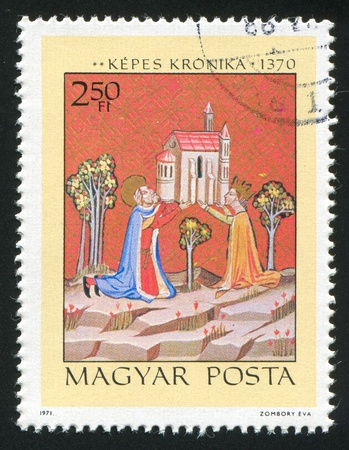 obuda: HUNGARY - CIRCA 1971: stamp printed by Hungary, shows Founding of Obuda Church by King Stephen I and Queen Gisela, circa 1971