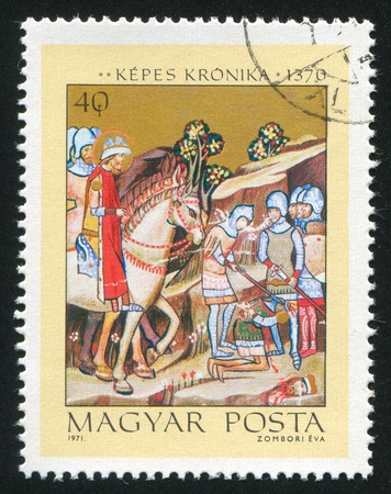 beheading: HUNGARY - CIRCA 1971: stamp printed by Hungary, shows Beheading of Heathen Chief Koppany, circa 1971
