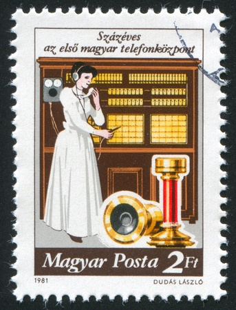 HUNGARY - CIRCA 1981: stamp printed by Hungary, shows Telephone Exchange System, Centenary, circa 1981 Stock Photo - 11754746