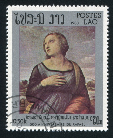 bosom: LAOS CIRCA 1983: stamp printed by Laos, shows Catherine of Alexandra by Raphael, circa 1983 Stock Photo