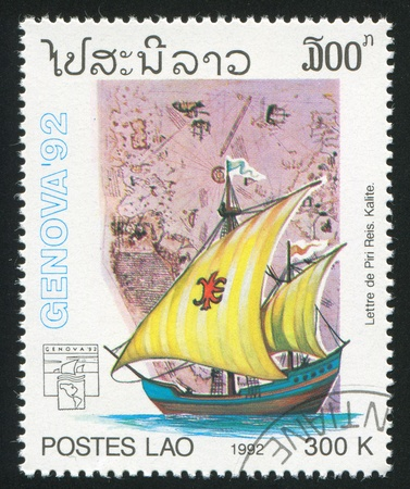 brigantine: LAOS CIRCA 1992: stamp printed by Laos, shows Sailing ship, circa 1992