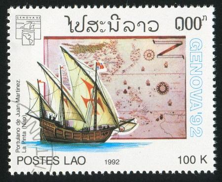 LAOS CIRCA 1992: stamp printed by Laos, shows Sailing ship, circa 1992 photo