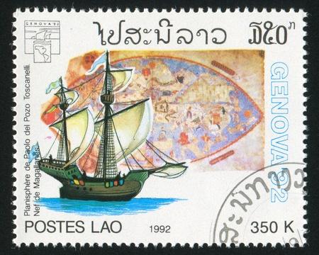 ketch: LAOS CIRCA 1992: stamp printed by Laos, shows Sailing ship, circa 1992