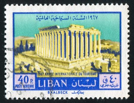 bacchus: LEBANON CIRCA 1967: stamp printed by Lebanon, shows Temple of Bacchus, Baalbek, circa 1967 Stock Photo
