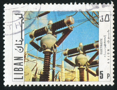 LEBANON CIRCA 1967: stamp printed by Lebanon, shows Power plant, circa 1967 photo