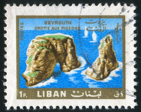 LEBANON CIRCA 1966: stamp printed by Lebanon, shows Pigeon Rocks, circa 1966 photo