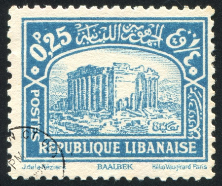 bacchus: LEBANON CIRCA 1930: stamp printed by Lebanon, shows Ruins of Bacchus Temple, Baalbek, circa 1930