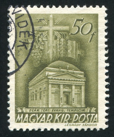 evangelical: HUNGARY - CIRCA 1973: stamp printed by Hungary, shows Deak Square Evangelical church, Budapest, circa 1973