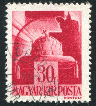 HUNGARY - CIRCA 1942: stamp printed by Hungary, shows Crown of St. Stephen, circa 1942 Stock Photo - 11863120