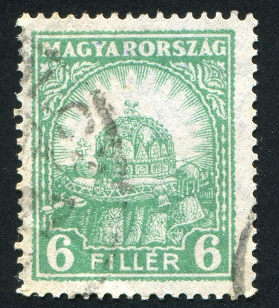 HUNGARY - CIRCA 1926: stamp printed by Hungary, shows Crown of St. Stephen, circa 1926 Stock Photo - 11893126