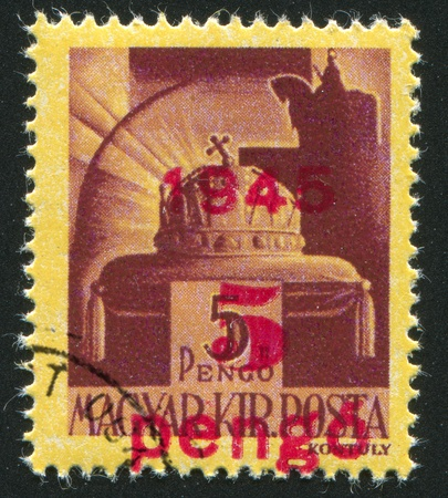 HUNGARY - CIRCA 1942: stamp printed by Hungary, shows Crown of St. Stephen, circa 1942 Stock Photo - 11893168